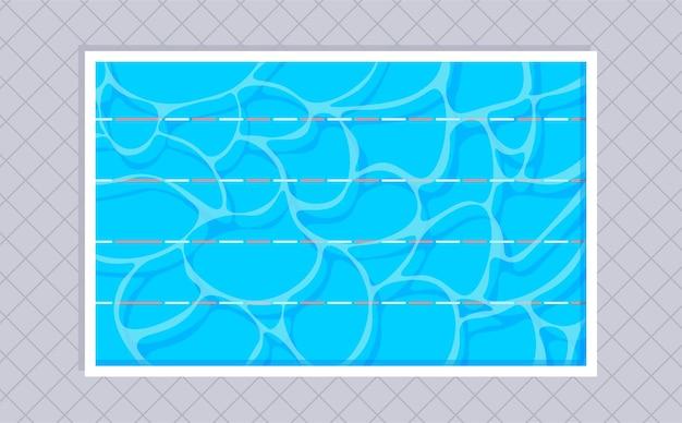 레인과 정사각형 타일이있는 직사각형 수영장 평면도