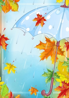 Rectangular template with a beautiful umbrella, rain and maple fallen leaves
