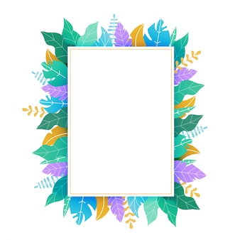 Rectangular template with green and yellow leaves