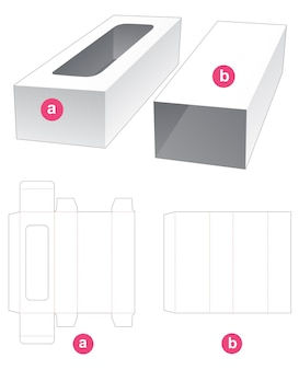 Rectangular tray with cover die cut template