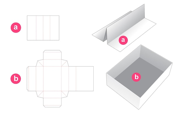 Rectangular tray with insert partition die cut template