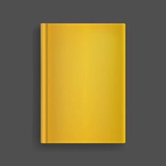 Rectangular vector blank golden realistic book cover mockup, closed organizer or notebook template