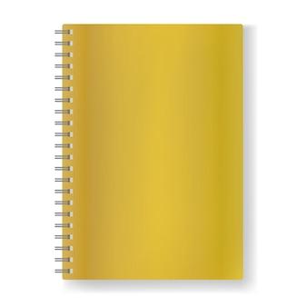 影付きスパイラルモックアップ、閉じたオーガナイザーの長方形ベクトル空白の黄金の現実的なノートブック