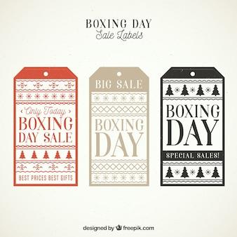Distintivo di vendita di giorno di boxe vintage rettangolare