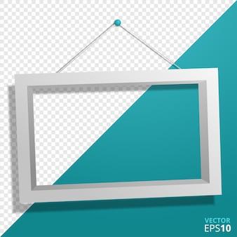 長方形の壁の写真またはフォトフレームのモックアップ