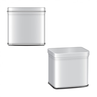 Rectangular white gloss tin can. container for coffee, tea, sugar, sweet, spice. realistic illustration packaging set