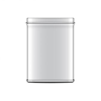 직사각형 흰색 광택 깡통. 커피, 차, 설탕, 달콤한, 향신료 용기. 현실적인 그림 포장