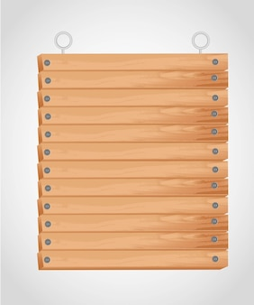 Rectangular wooden board with grommets for hanging