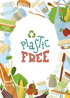 リサイクル可能なアクセサリーとオーガニック食品フラットイラスト。衛生用品やエコバッグ、野菜や果物の色ボーダー