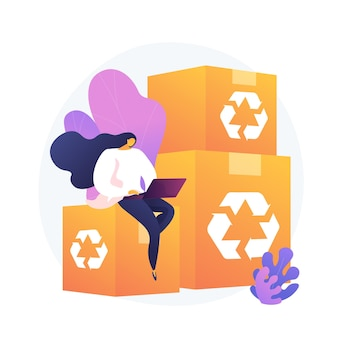 Recyclable and eco friendly packaging. order tracking, internet shopping, delivery service. reusable cardboard boxes, ecological material container.
