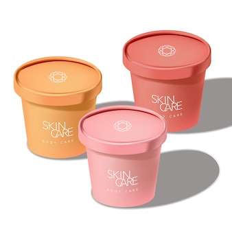 Recyclable ice cream paper cup jar for food snack cosmetics skincare healthcare 3d sunshine illustration