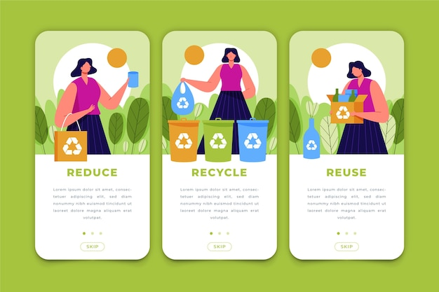 Recycle app screens for mobile phone