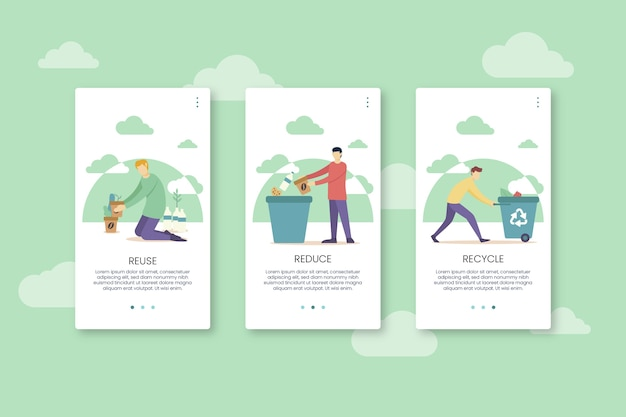 Recycle app screens with mobile phone