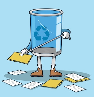 Recycle bin catching files and folders illustration
