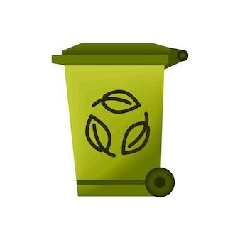 쓰레기 및 쓰레기를 위한 휴지통 쓰레기 재활용 기호가 있는 쓰레기통 쓰레기통