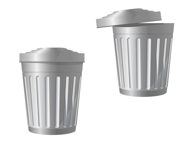 Recycle bin icon in two variations isolated on white