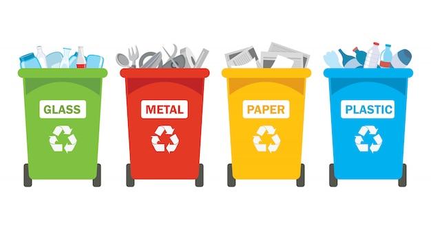플라스틱, 금속, 종이 및 유리 용 휴지통