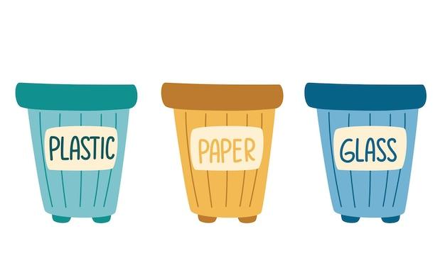 휴지통. 분류된 쓰레기 세트가 있는 쓰레기통. 폐기물 분류. 플라스틱, 유리, 종이.