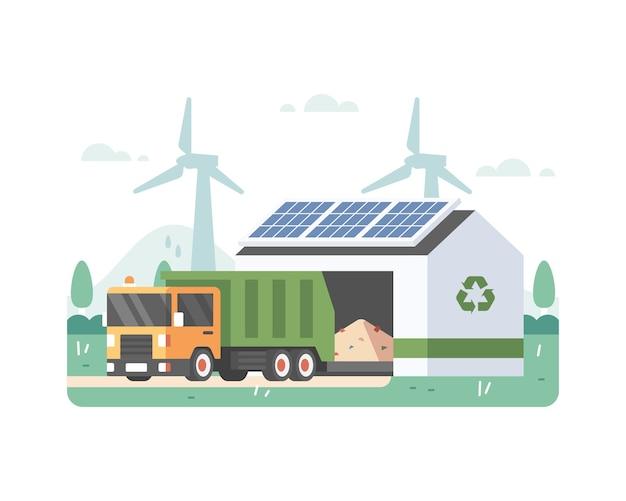 에코 에너지와 태양 전지판을 가진 휴지통