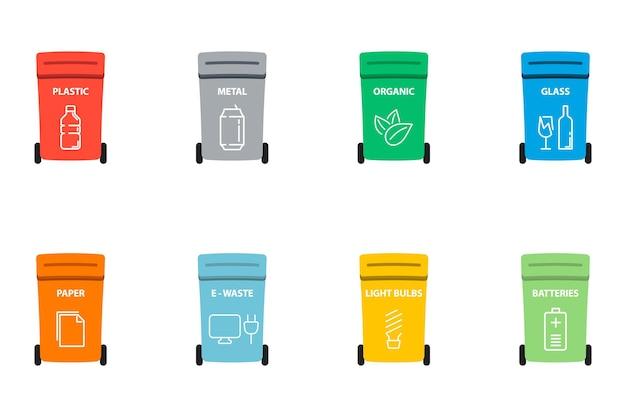재활용 기호가 있는 휴지통입니다. 종이, 플라스틱, 유리, 유기 폐기물이 있는 다양한 색깔의 쓰레기통. 쓰레기 쓰레기, 분류 쓰레기. 재활용 쓰레기 분리 수거 및 재활용