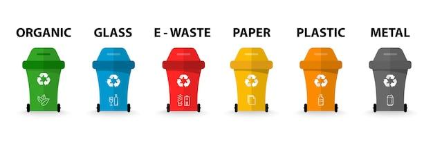 재활용 기호가 있는 휴지통입니다. 다른 색깔의 쓰레기. 유기, 배터리, 금속, 플라스틱, 종이, 유리, 폐기물, 전구, 식품. 재활용 쓰레기 분리 수거 및 재활용. 쓰레기통.