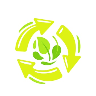 Recycle, biodegradable symbol with circulate rotating green arrows and tree leaves. compostable recyclable plastic