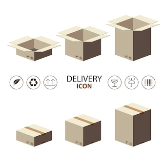 배달 아이콘으로 갈색 상자 포장 재활용