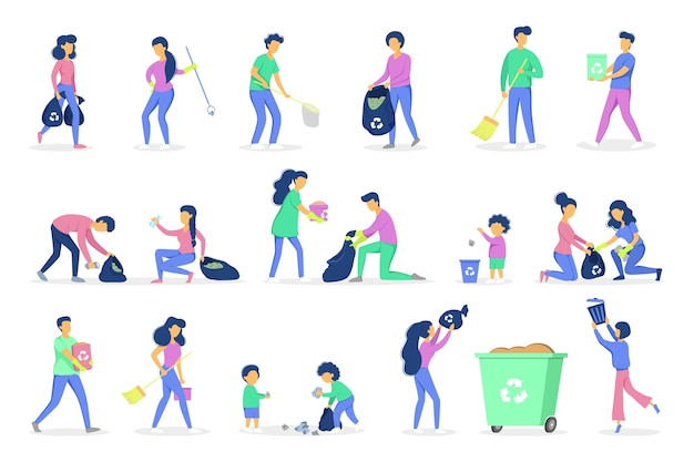 Recycle concept. ecology and environment care. idea of garbage reuse. volunteers picking up and sorting paper and plastic rubbish. garbage collection with family.  illustration