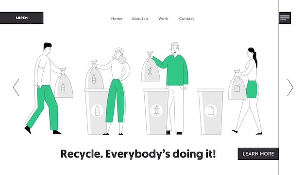 Recycle environmental pollution problem website landing page.