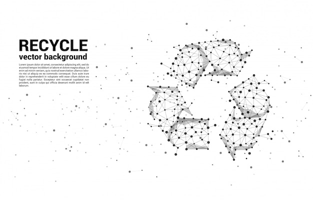 Recycle icon from dot connect line polygon network template