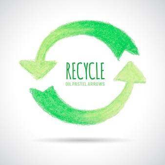 オイルパステルクレヨンで手描きのリサイクルアイコン。緑の矢印は円の形をしています。テキストの場所。エコロジーの概念。