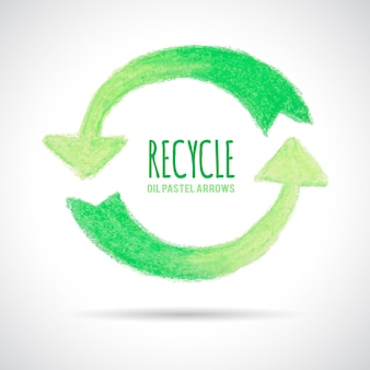 Recycle icon, hand drawn with oil pastel crayon. green arrows circle shaped. place for text. ecology concept.
