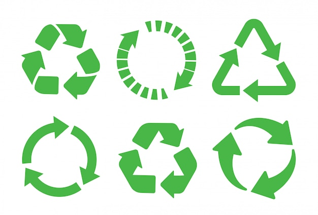 Recycle icon set. recycling green color.