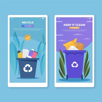 Recycle and keep it clean mobile app screens