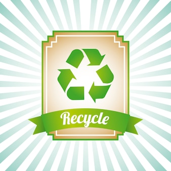 Recycle label over grunge background vector illustration