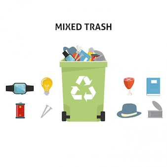 Recycle mixed trash illustration set