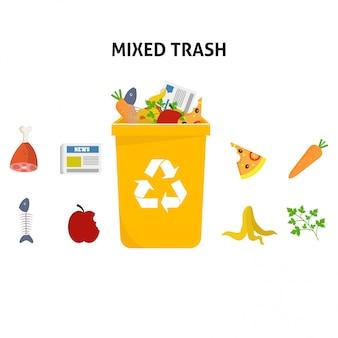 Recycle mixed waste trash illustration set