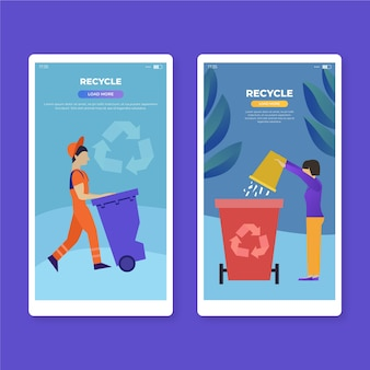 Recycle mobile app screens