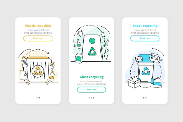 Recycle onboarding app screens collection