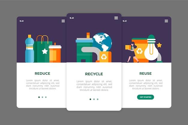 Recycle onboarding app screens concept