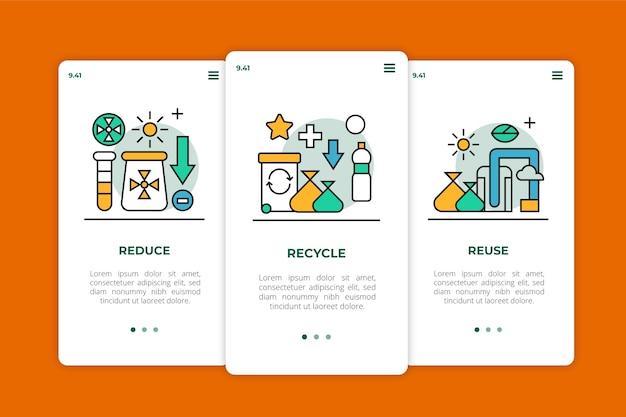 Recycle onboarding app screens design