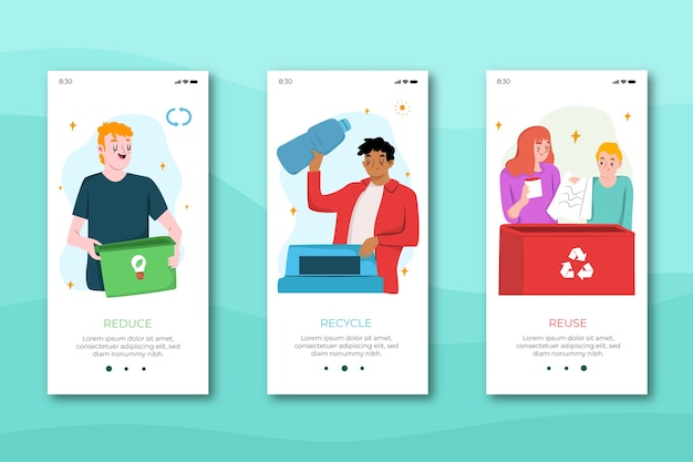 Recycle onboarding app screens for mobile phone