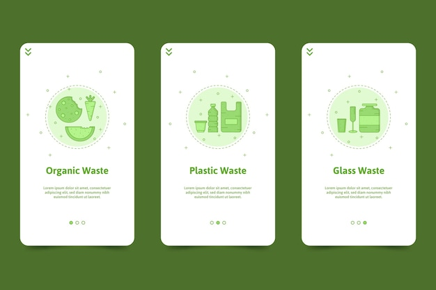 Recycle onboarding app screens pack