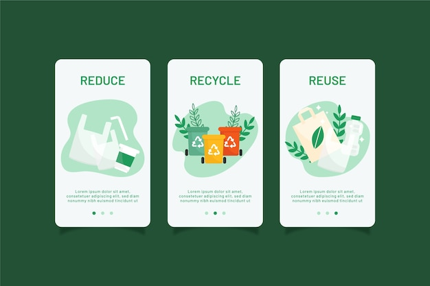 Recycle onboarding app screens pack