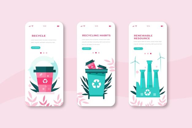 Recycle onboarding app screens phone