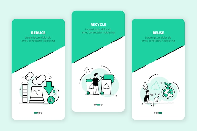 Recycle onboarding app screens set