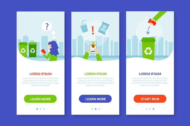 Recycle onboarding app screens