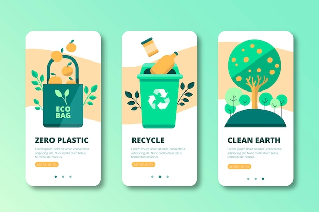 Recycle onboarding app screens