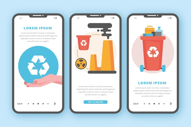 Recycle onboarding application screens