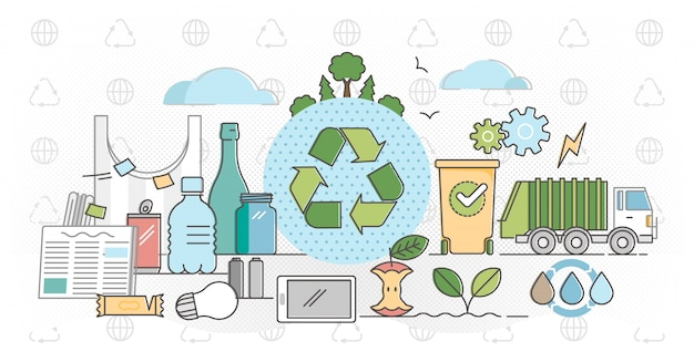 Recycle outline concept flat vector illustration